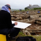 Drawing at the Ness of Brodgar site